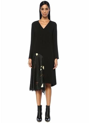 Beymen Collection V Yaka Garnili Asimetrik Midi İpek Elbise Siyah
